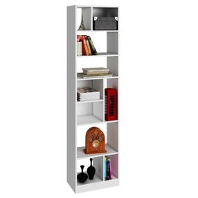 Mueble Librero Alto Blanco 7 Repisas Y Divisiones Be 839-06