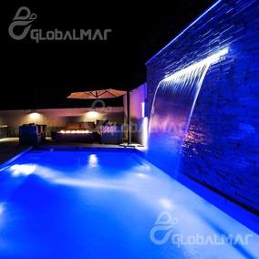 Cascata Com Led Para Piscina Iluminação Água Bico Inox 60cm