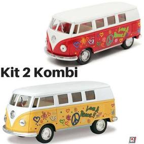 Kit 2 Miniatura Carrinho De Coleção Wolkswagen Kombi 1962