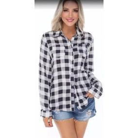 557ae05d54 Camisa+xadrez+feminina - Camisa Casual Manga Longa Femininas Cinza ...