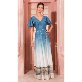 c9320edcf31 Antix Vestido Longo Raio De Sol Azul Com Tag R80969