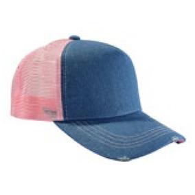 31b8d86faac8b Gorras Trucker Jean Azul Con Roturas Y Red De Colores