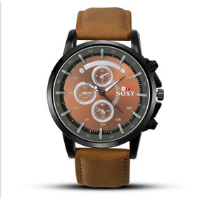 Relógio Pulso Couro Original Soxy Luxo Masculino Compre Já