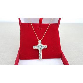 Colar Feminino Folheado Crucifixo Cravejado De Zirconias
