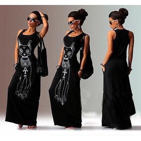 Roupa Feminina Vestido Longo Casual Com Linda Estampa