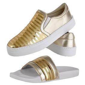 Kit Tênis Slip On E Chinelo Slide Feminino Emanuelly Shoes
