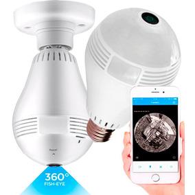 Lampada Espiã Ip 360° Hd Panorâmica Led Wifi 3g Grava Alarme