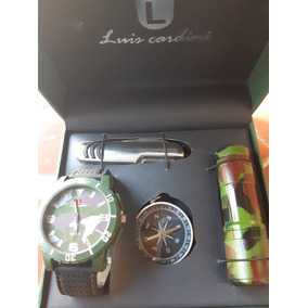 Estuche Para Caballero Estilo Militar Reloj Brujula Lampara