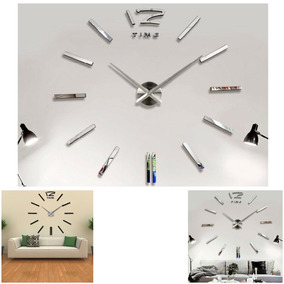 Reloj Grande De Pared Decorativo Sticker 3d Espejo 120 Cms