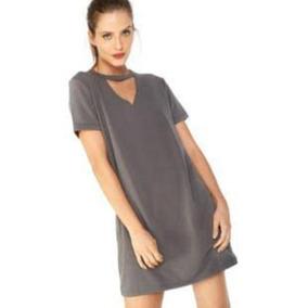 47a79fefd Vestido Feminino Camisao - Vestidos Casuais Curtos Femininas Cinza ...