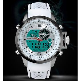 Relógios Cor Branca Multifunções Led Digital Analógico