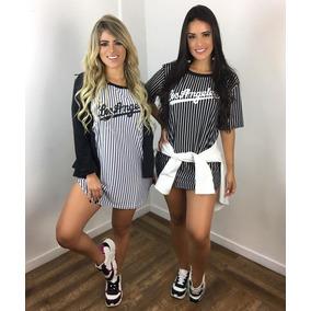 Blusão Camiseta Vestido Feminino Los Angeles Listrado Moda 41b9d1490d6