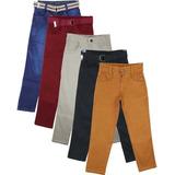 Kit 5 Calça Jeans Masculina Infantil Meninos 2 Ao 16 Anos