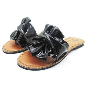 Sandália Feminina Chinelo Conforto Lp110 Laço Verniz Preto