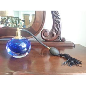 Antigo Perfumeiro De Cristal Azul Lindo !