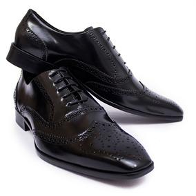 Sapato Bico Fino Estilo Italiano Social Masculino Em Couro