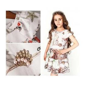 Vestido Infantil Com Perolas Estilo Casual Delicado Oferta 23e8e4029c764