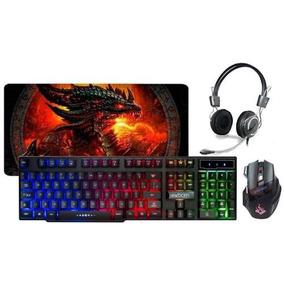 Kit Gamer Teclado Semimecânico + Mouse + Headfone + Mousepad