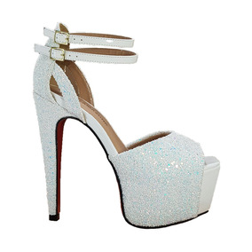 Sandália Salto Alto Branco Glitter Furtacor Dom Amazona C408