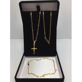 Conjunto Corrente Pulseira Cartier Banhada Ouro, Ref:305