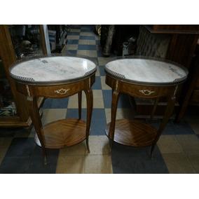 Dos Mesas De Luz Tambor Frances Marmol Y Bronces Originales