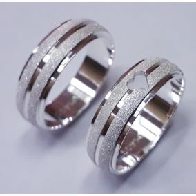 Par Alianças De Prata Coração Vazado 6mm
