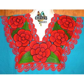 Blusa Bordada De Chiapas/ Talla 2xl / Verde / Zinacantán Atr
