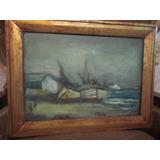 Cuadro Antiguo Pintura Oleo Marina Chilena Valparaiso Vintag