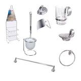 Set Accesorios Baño 8 P Metal Toallero Escobilla Organizador