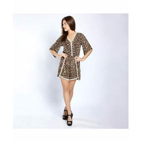 Palaxo 12604 Short Jumper Animal Print Leopardo Moda Naciona