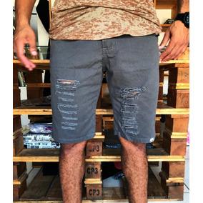 Bermuda Jeans Sarja Destroyed Desfiada Rasgada Novas Cores