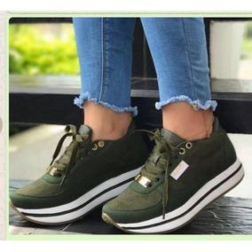 Deportivos Verdes Alta Moda Zapatos Piso Suela Mujer Doble R5g6dnqaw
