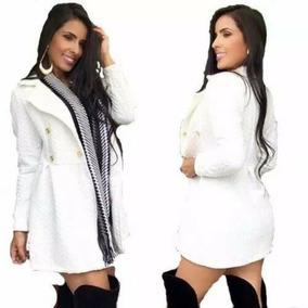 a09eacc3be Sobretudo Feminino Festa Casaco Inverno Social Branco Preto