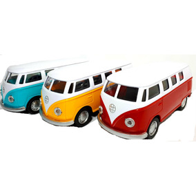 Brinquedo Miniatura Kombi Metal Abre Porta Com Som E Luz