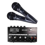 Consola Mixer 4 Canales Moon Mdj400 + 2 Microfonos Cable