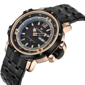 Relógio Masculino Naviforce® 9073 Aço Inoxidável Dourado