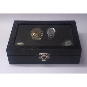 Caixa Estojo Porta 8 Relógios Couro Ecológico Vidro Preto