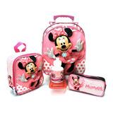 Kit Mochila Infantil Minnie Mouse Lisa M Rodinhas Menina F5