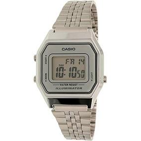 aee4a13fcc08 Casio Ladies Mid-size Silver Tone Digital Retro Watch La-68