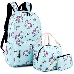Mochila De Unicornio Escolar Niña Moda Combo Juvenil Mujer