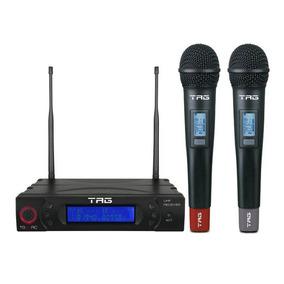 Microfone Duplo Tag Sound Sem Fio Uhf Estojo Tg-8802 Ac1637