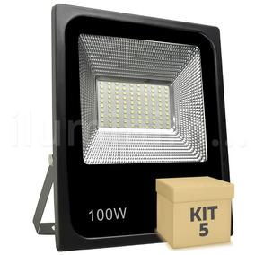 Kit 5 Refletor Holofote Micro Led 100w 6000k Branco Frio