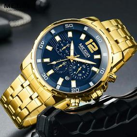 Relógio Dourado Masculino Cronógrafo Megir 2068