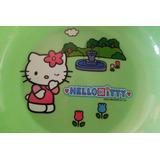 Plato Hondo Verde Sanrio Hello Kitty Anime Food Tools Green