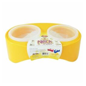 Comedouro Plástico Para Cachorros Gatos Duplo 540ml Amarelo