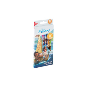 Lápis De Cor Caixa Com 12 Cores Tris Disney Princesa Moana