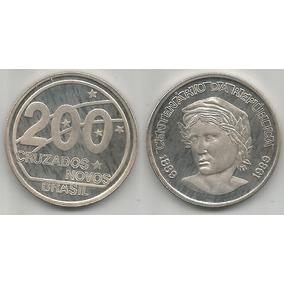 Moeda 200 Cruzados Novos 1989 Prata Centenário Da República