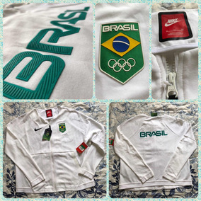 50463d1b45b83 Jaqueta Branca Nike Time Brasil Olimpíadas Rio 2016. R  650