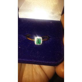 Anel De Esmeralda Cristal,diamantes E Ouro/modelo Solitario