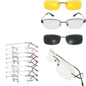 Combo  Armações Oculos Grau Titanio A01 + Armação Clip-on 2cf26f95bf